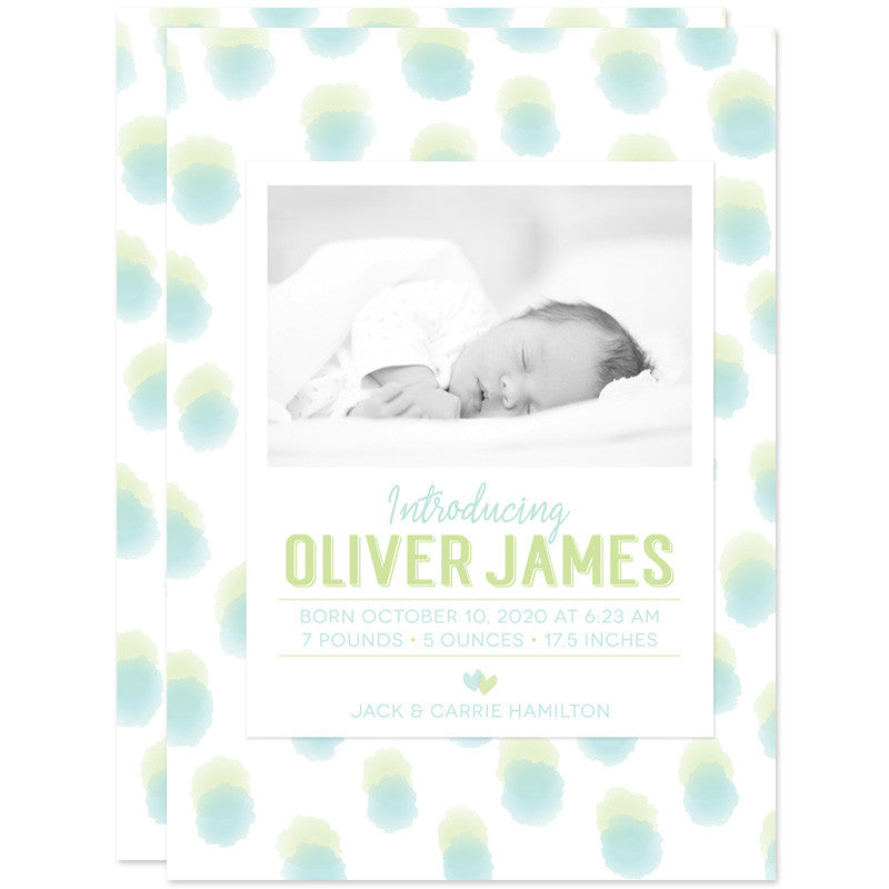 Blue & Green Sweet Watercolor Dots Birth Announcements