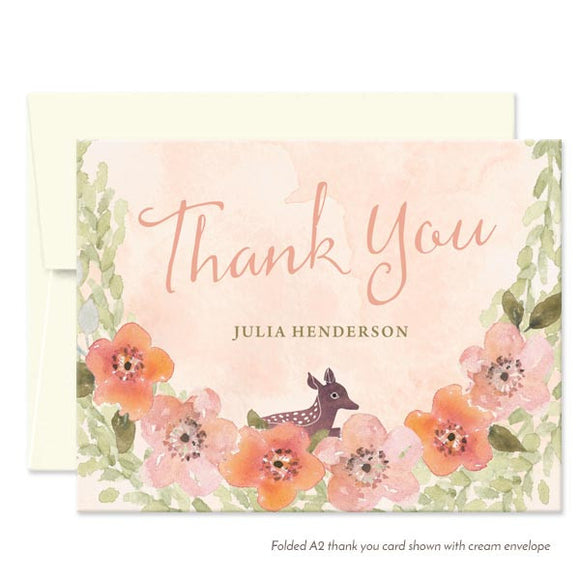 Sweet Woodland Floral Thank You Cards by The Spotted Olive - White Envelopes