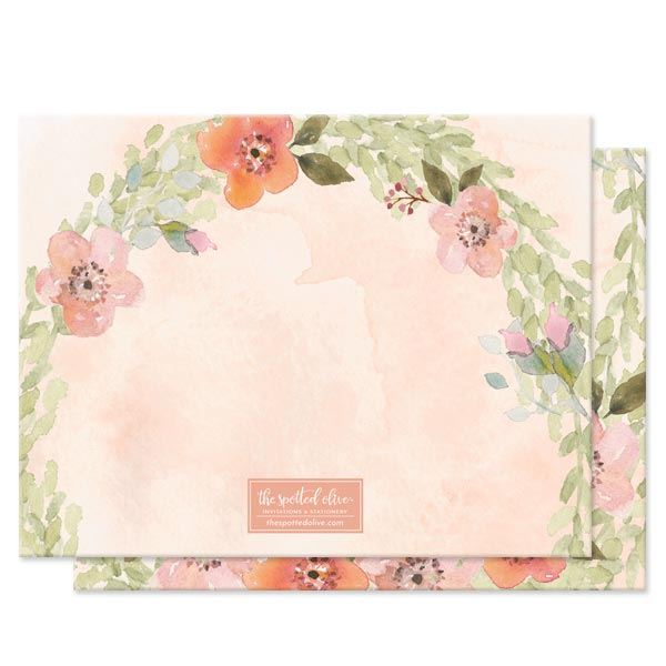 Sweet Woodland Floral Personalized Note Cards by The Spotted Olive - Back