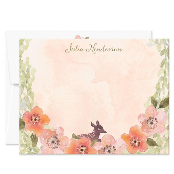 Sweet Woodland Floral Personalized Note Cards by The Spotted Olive - Envelope