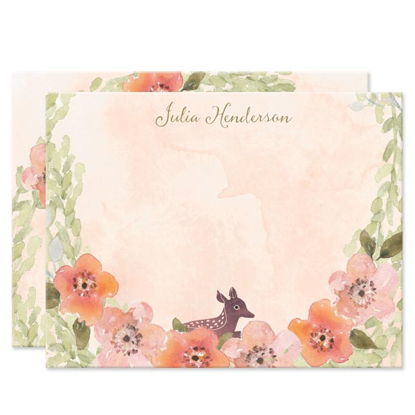 Sweet Woodland Floral Personalized Note Cards by The Spotted Olive