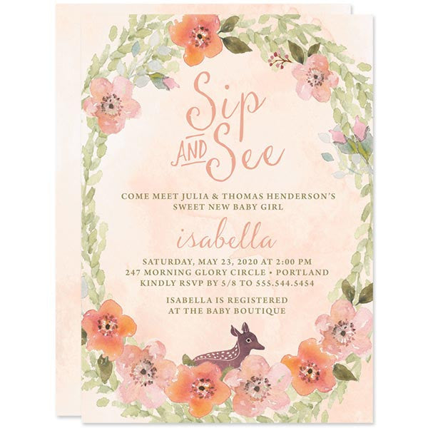 Sip & See Baby Shower Invitations - Sweet Woodland Floral - The Spotted Olive