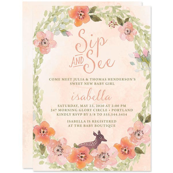 Baby Shower Invitations - Sweet Woodland Floral - The Spotted Olive