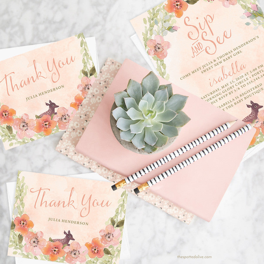 Sweet Woodland Floral Baby Shower Invitations & Thank You Cards by The Spotted Olive - Scene