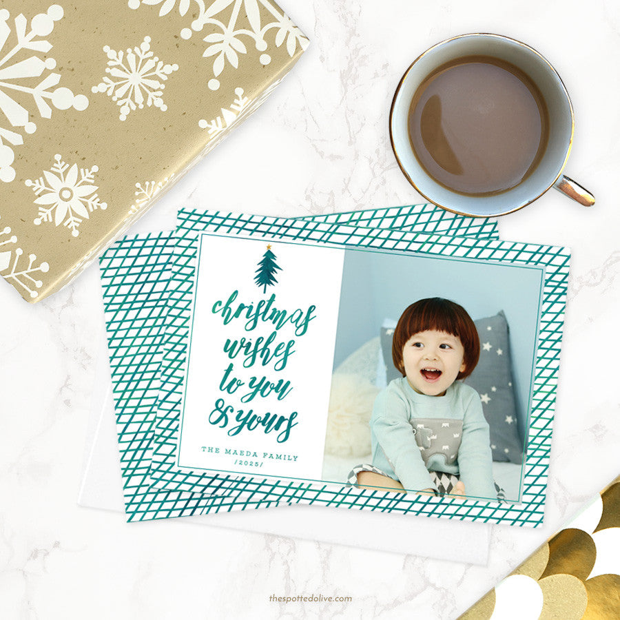 Teal Christmas Wishes Holiday Photo Cards by The Spotted Olive - Scene