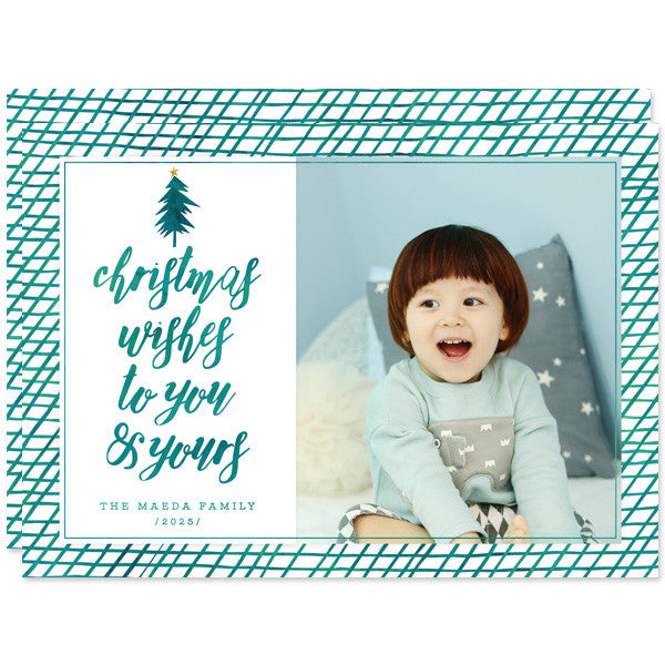 Teal Christmas Wishes Holiday Photo Cards by The Spotted Olive