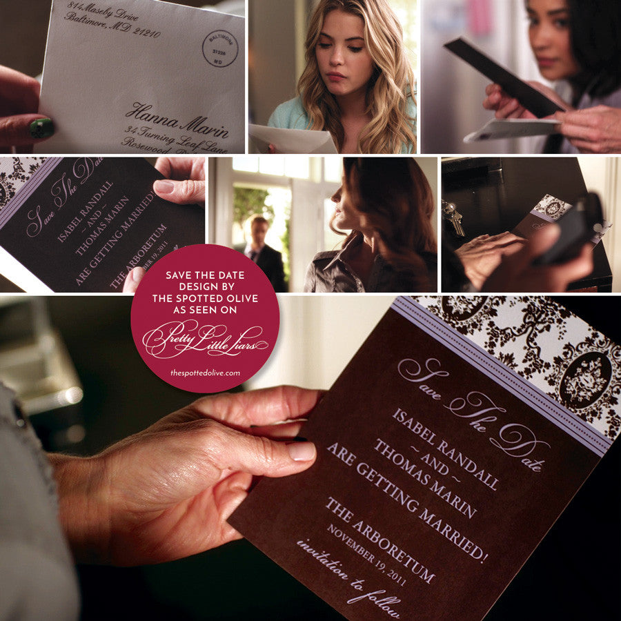 Victorian Romance Save The Dates by The Spotted Olive as seen on Pretty Little Liars - Show Stills