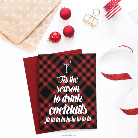 Boxed Cards - 'Tis The Season For Cocktails (Red & Black Plaid)