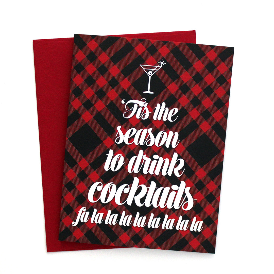 'Tis The Season To Drink Cocktails Holiday Card by The Spotted Olive