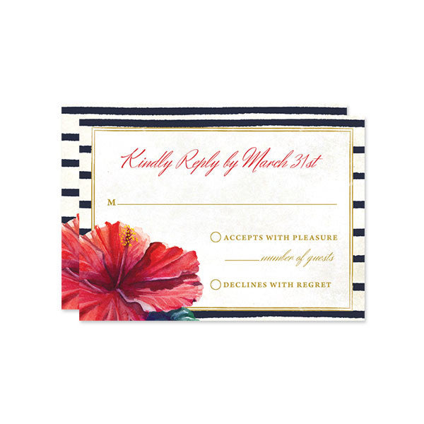 Tropical Hibiscus RSVP Cards by The Spotted Olive