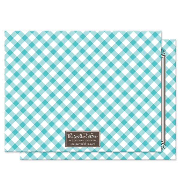 Turquoise Gingham Personalized Note Cards by The Spotted Olive - Back
