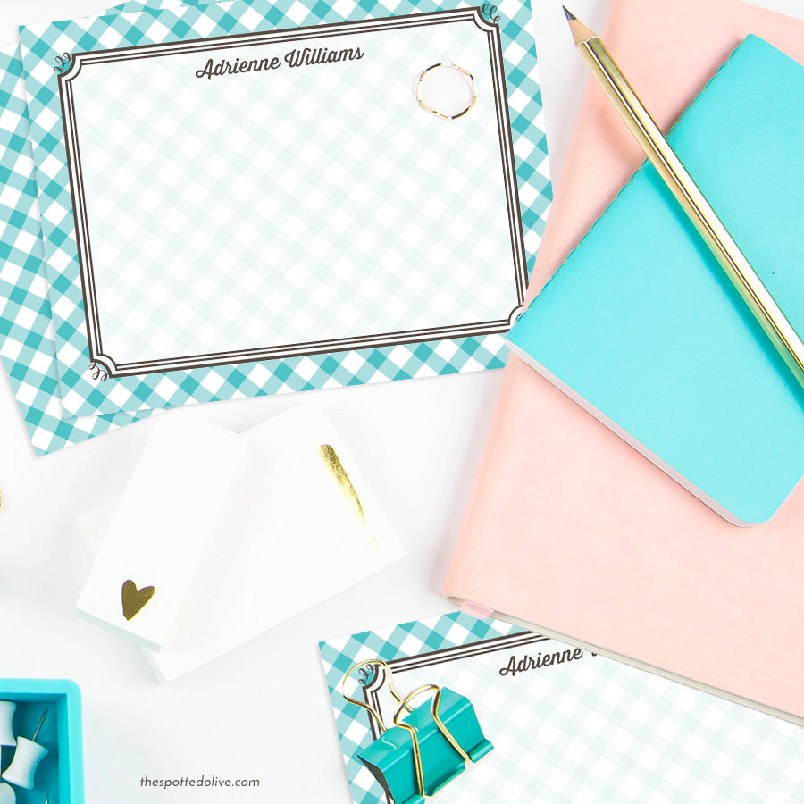 Turquoise Gingham Personalized Note Cards by The Spotted Olive - Scene