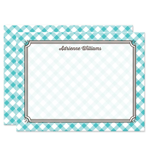 Turquoise Gingham Personalized Note Cards by The Spotted Olive