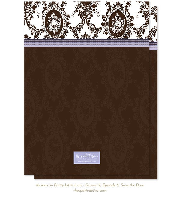 Victorian Romance Save The Dates by The Spotted Olive as seen on Pretty Little Liars - Back