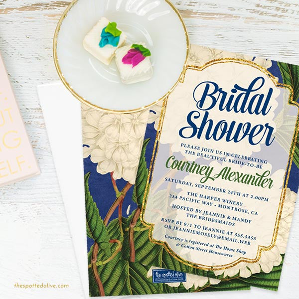 Vintage Hydrangeas Bridal Shower Invitations by The Spotted Olive - Scene
