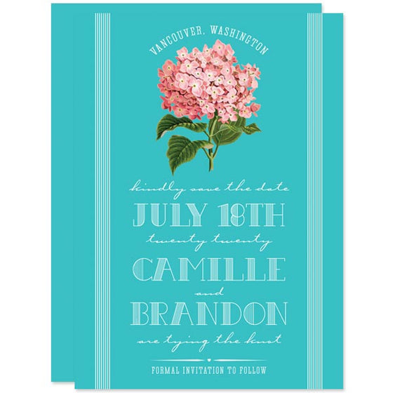 Vintage Hydrangea Save The Date Cards by The Spotted Olive