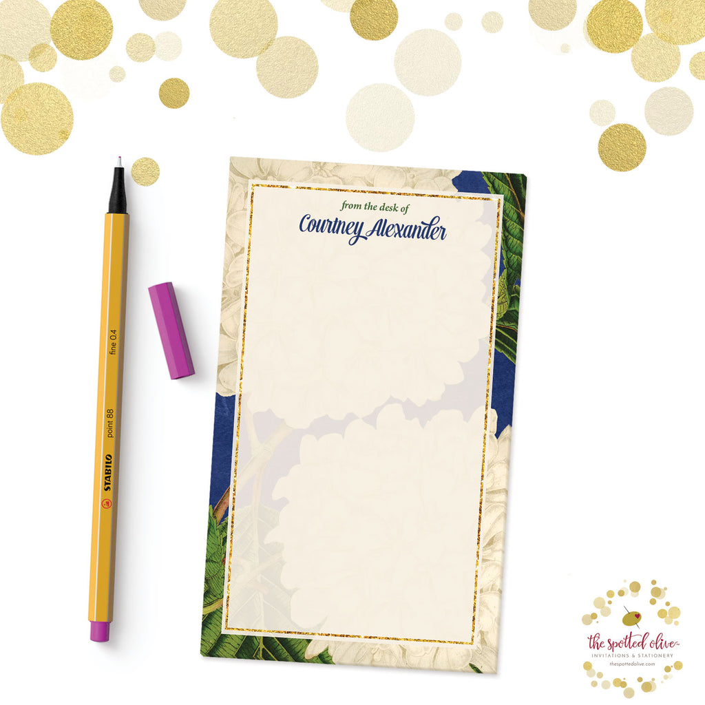 Vintage Hydrangeas Personalized Notepad by The Spotted Olive - Branded