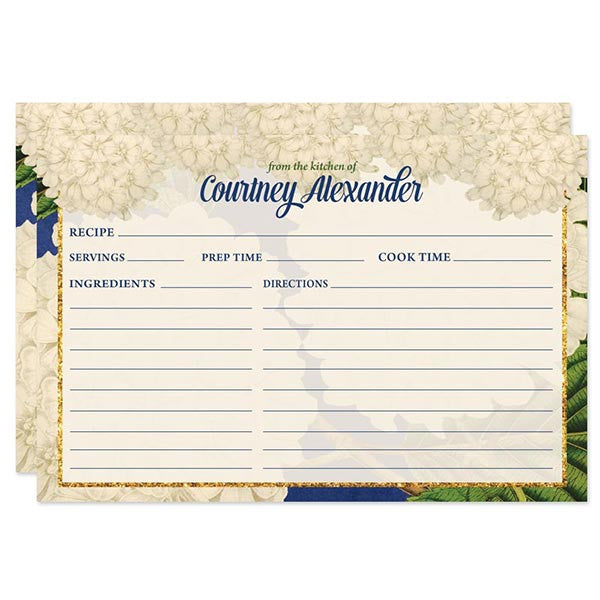 Vintage Hydrangeas Personalized Recipe Cards by The Spotted Olive
