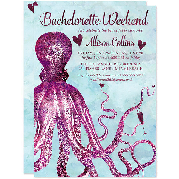 nautical vintage octopus bachelorette invitations the spotted