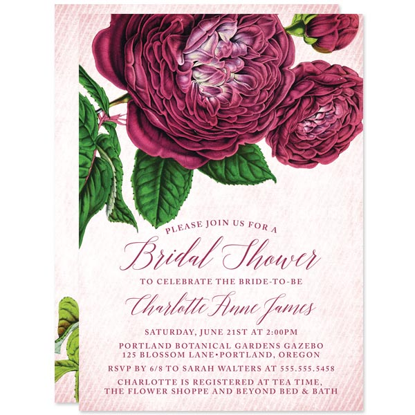 Vintage Purple Flowers Bridal Shower Invitations by The Spotted Olive