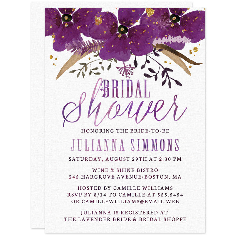 Violet Watercolor Floral Bridal Shower Invitations The Spotted