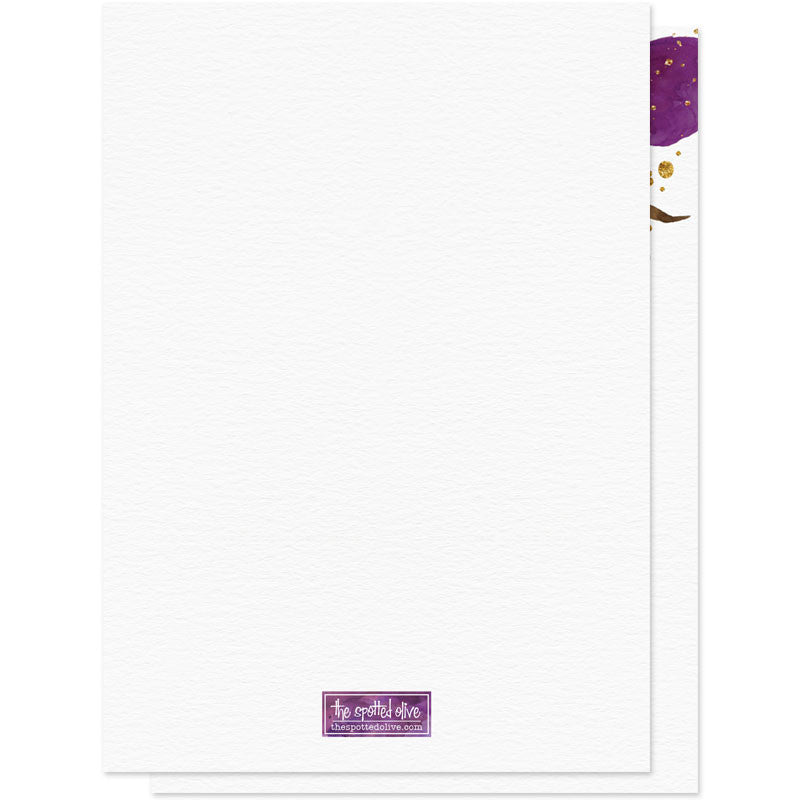 Violet Water Color Floral Save The Date Cards - Back