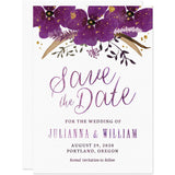 Violet Watercolor Floral Save The Date Cards