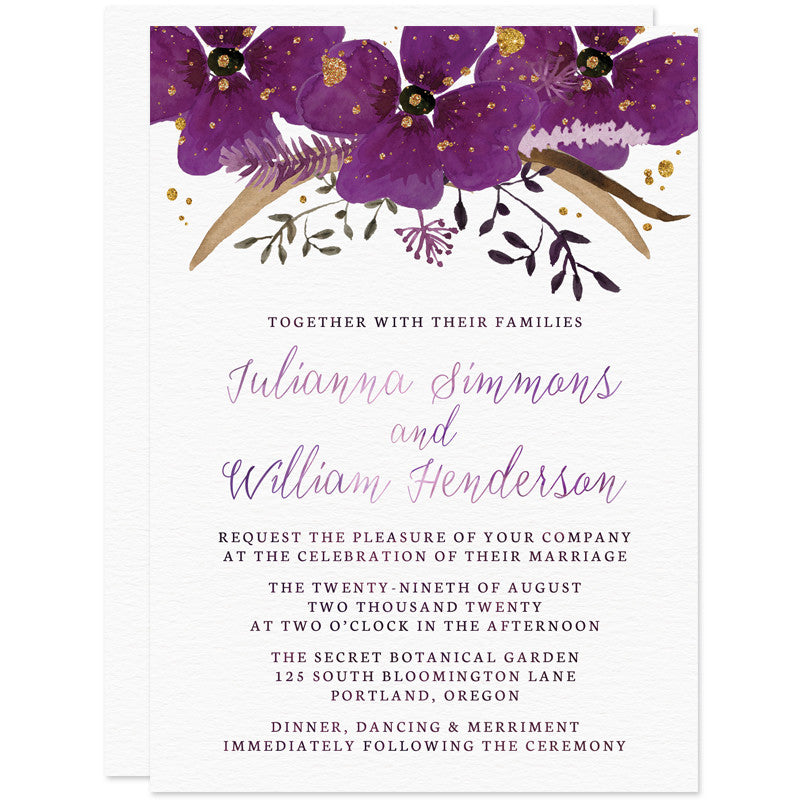 Violet Watercolor Floral Wedding Invitations