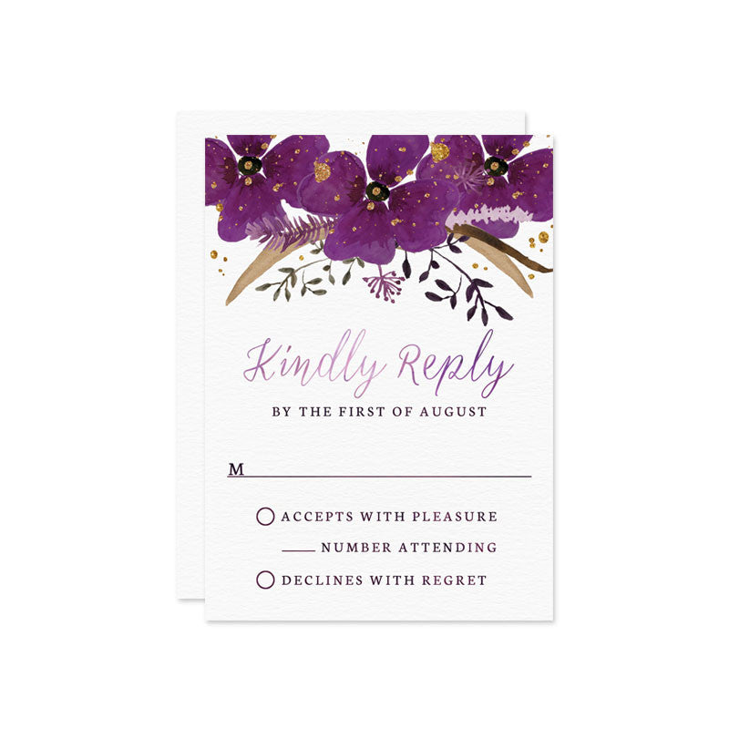 Violet Watercolor Floral Wedding RSVP Cards