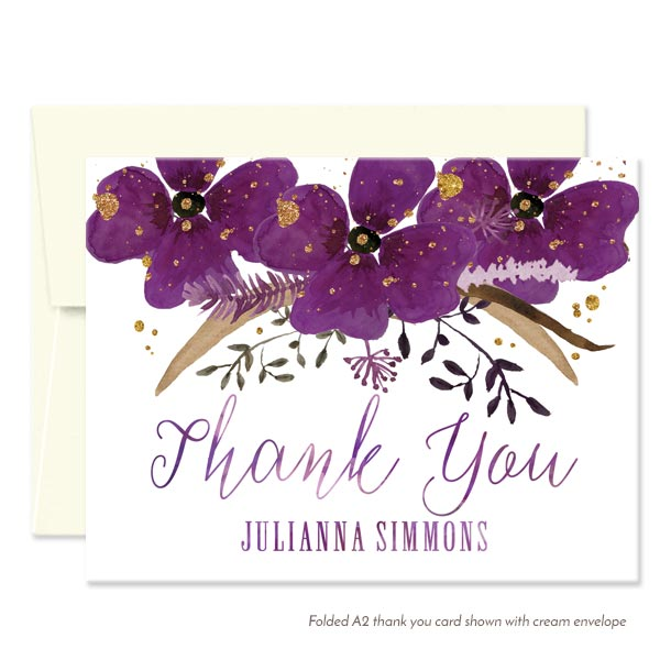 Violet Watercolor Floral Personalized Thank You Cards by The Spotted Olive - Cream Envelope