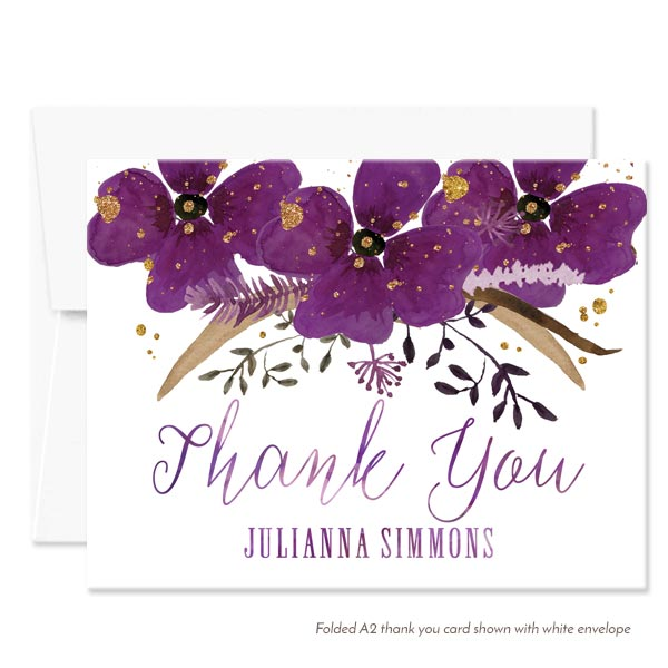 Violet Watercolor Floral Personalized Thank You Cards by The Spotted Olive - White Envelope
