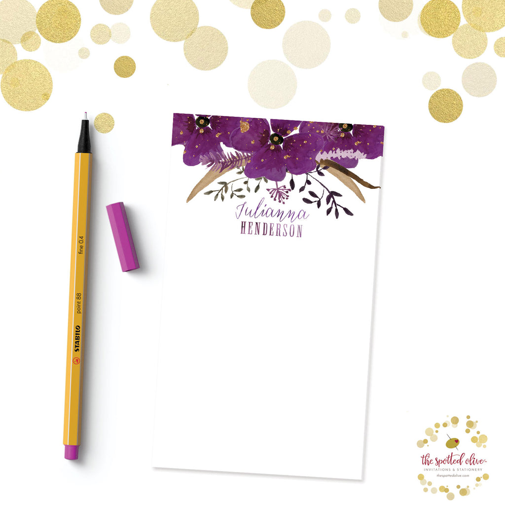 Violet Watercolor Floral Personalized Notepad by The Spotted Olive - Branded