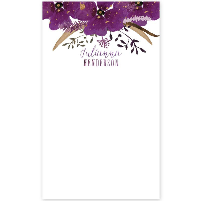 Violet Watercolor Floral Personalized Notepad by The Spotted Olive