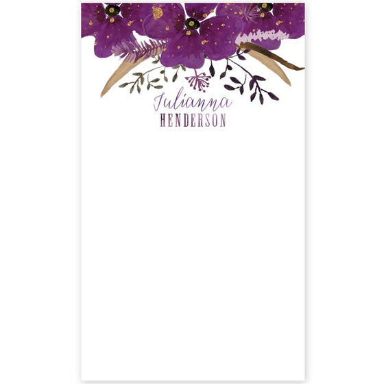 Violet Watercolor Floral Personalized Notepads by The Spotted Olive