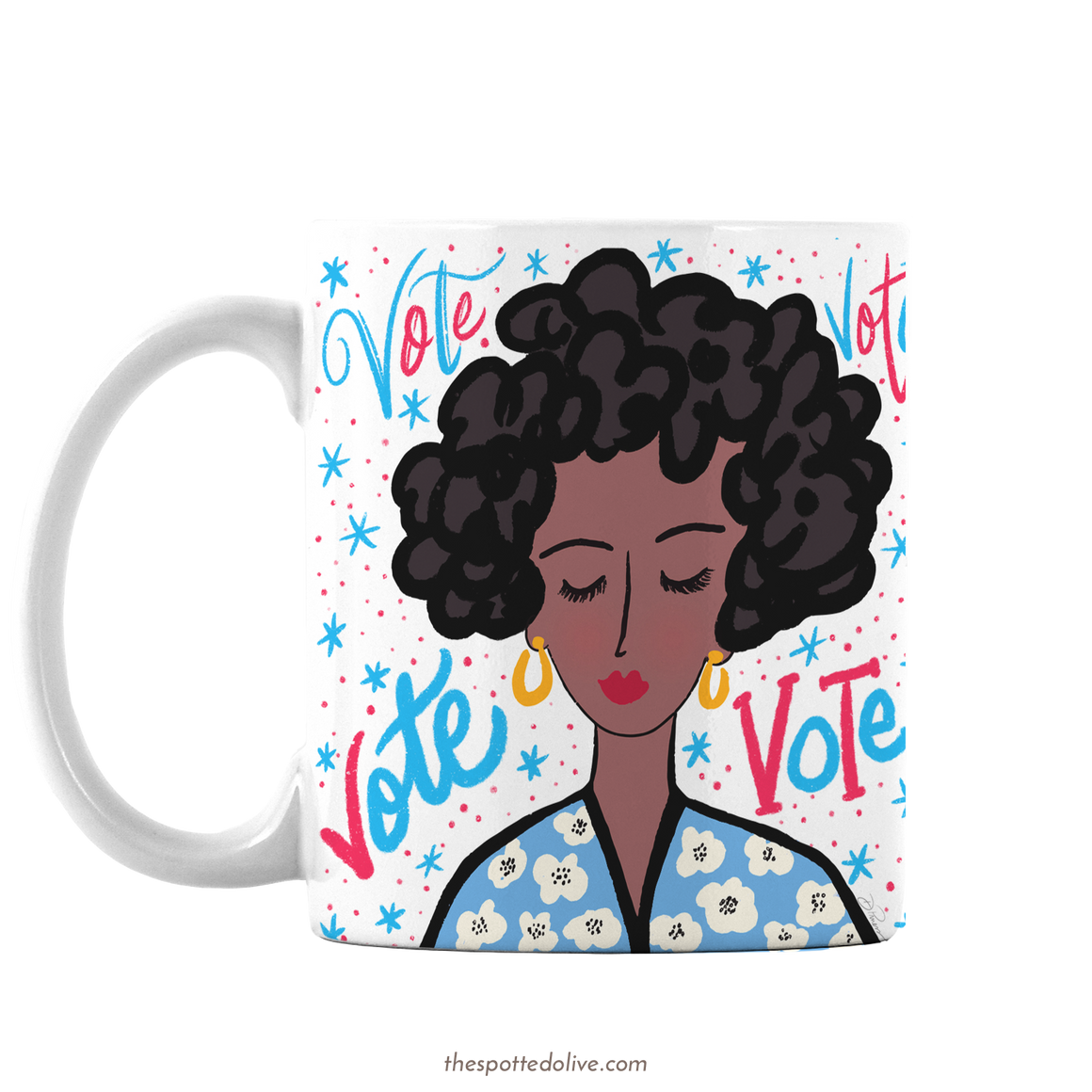 Vote Lady Coffee Mug by The Spotted Olive - Left