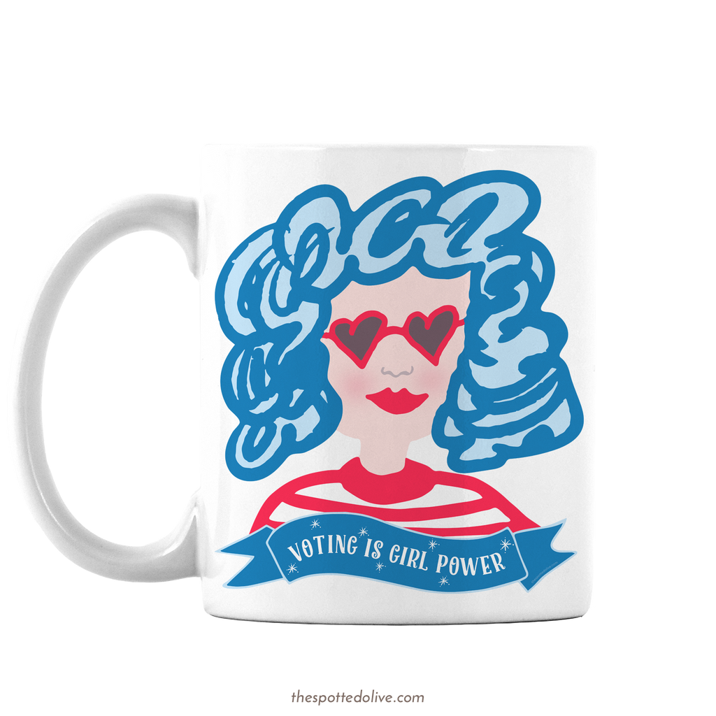 Voting is Girl Power Coffee Mug by The Spotted Olive - Left