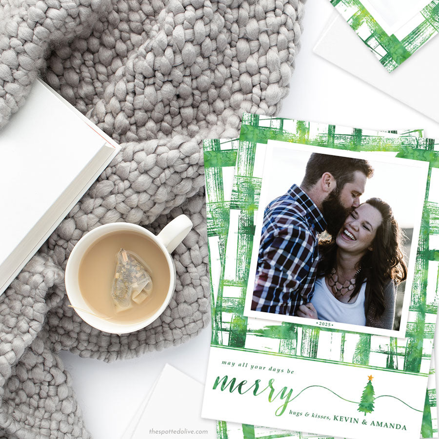 Watercolor Brushstrokes Holiday Photo Cards by The Spotted Olive - Shop
