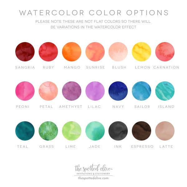 Watercolor Color Options Chart by The Spotted Olive