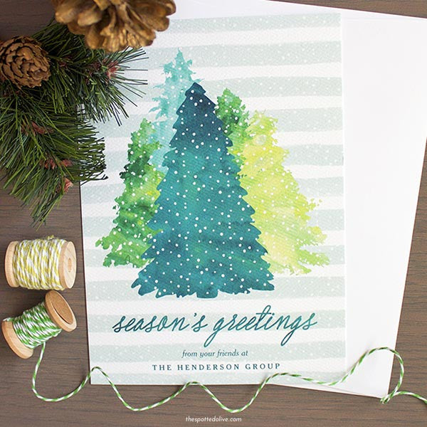 Watercolor Winter Evergreens Non-Photo Holiday Cards by The Spotted Olive - Scene
