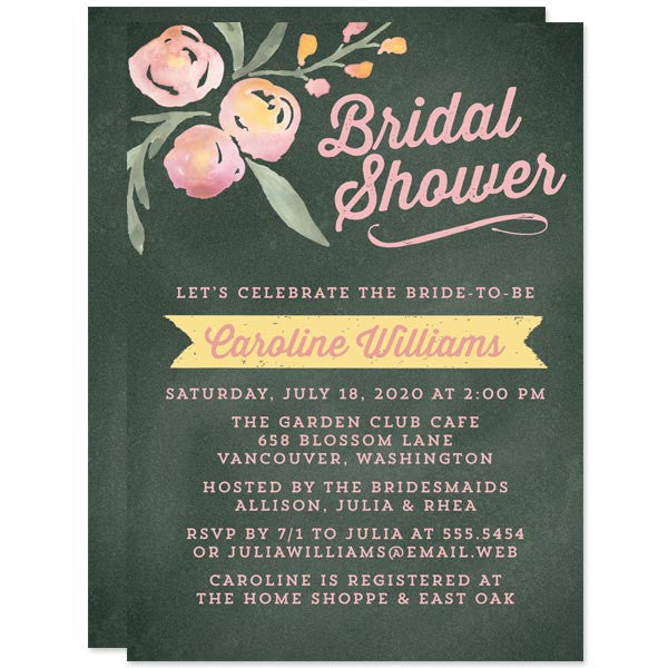 Watercolor Floral & Chalkboard Bridal Shower Invitations by The Spotted Olive