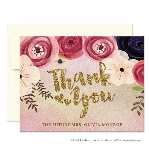 Personalized Watercolor Floral Thank You Cards by The Spotted Olive - Cream Envelopes