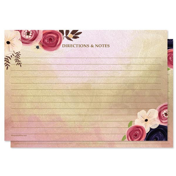 Watercolor Floral Personalized Recipe Cards by The Spotted Olive - Back