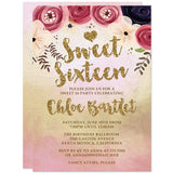 Watercolor Floral Sweet 16 Invitations by The Spotted Olive