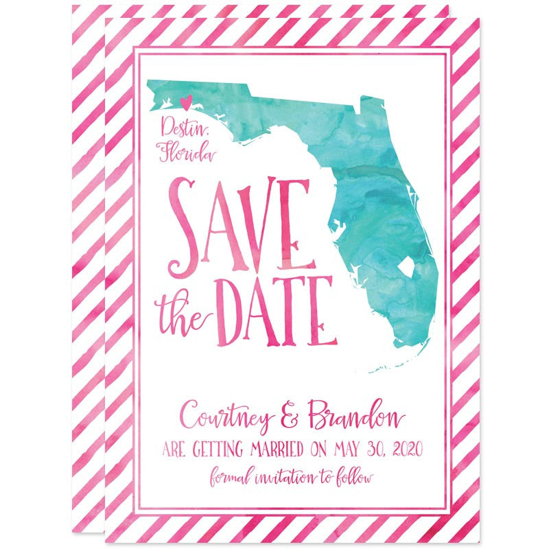 Watercolor Florida Shape Save The Dates by The Spotted Olive