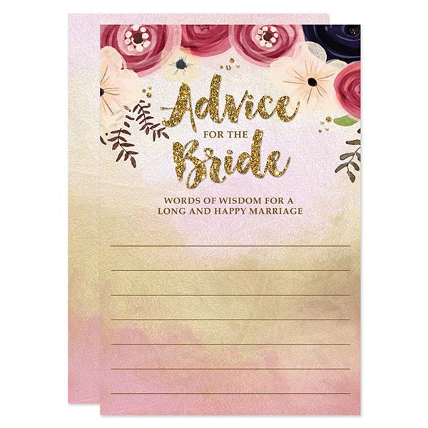 Watercolor Floral Advice for the Bride Cards by The Spotted Olive