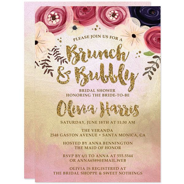 Bridal Shower Invitations   Watercolor Floral Brunch U0026 Bubbly