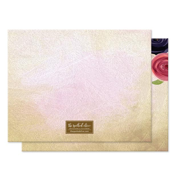 Watercolor Flowers Personalized Note Cards by The Spotted Olive - Back
