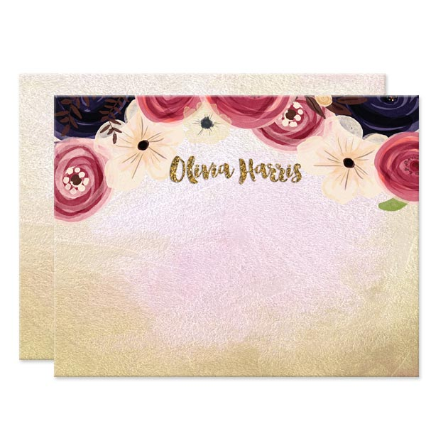 Watercolor Flowers Personalized Note Cards by The Spotted Olive - Front