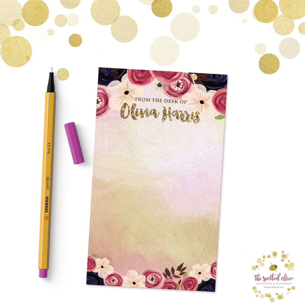 Watercolor Flowers Personalized Notepad by The Spotted Olive - Branded