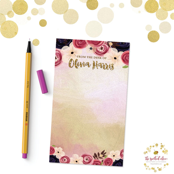 Watercolor Flowers Personalized Notepad by The Spotted Olive